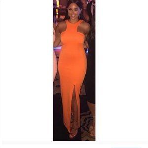 Orange  cocktail split maxi dress